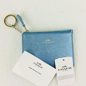 Womens coach business card holder on poshmark coach metallic blue id business credit card holder colourmoves